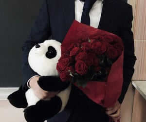 boy, flowers, and panda image