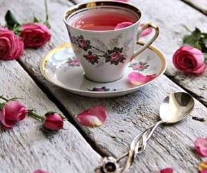 flowers, roses, and spoon image