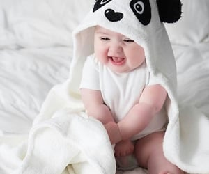 baby, white, and panda image
