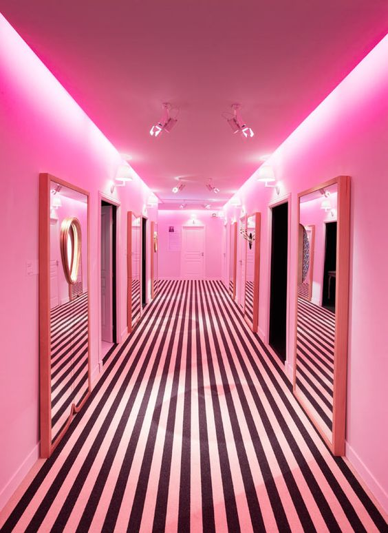 Black White Hot Pink Decor Hallway On We Heart It