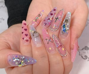 glitter, stiletto nails, and kawaii nail art image
