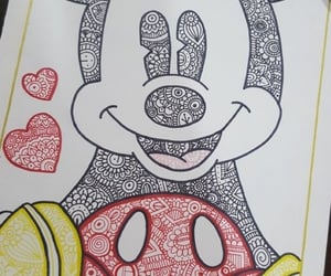 drawing, mickey mouse, and heart image
