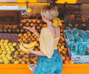 fashion, fruit, and girl image