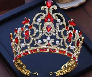tiara, bridal hair accessories, and red rhinestone image