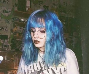 blue hair and pretty image