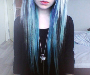 blue hair, scene girl, and girl image