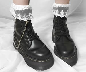 aesthetic, black and white, and boots image