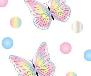 background, bubbles, and butterflies image