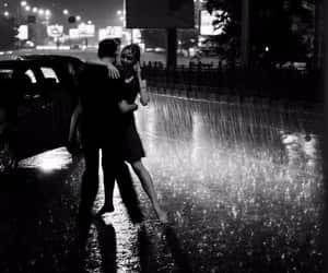 love, rain, and couple image