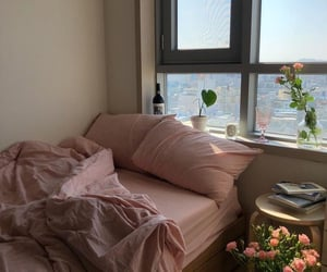 aesthetic, pink, and bed image