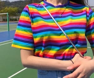 girl, rainbow, and clothes image