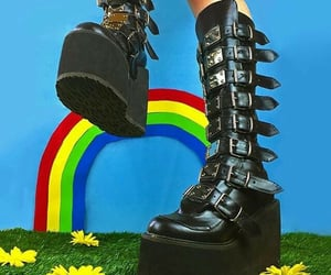 black, platforms, and boots image