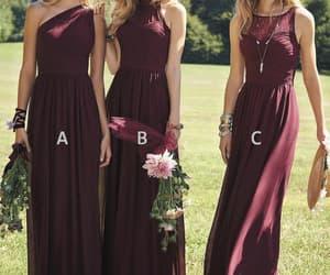 bridesmaid dress, long bridesmaid dress, and wedding party dress image
