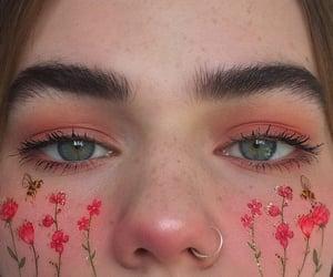 makeup, flowers, and girl image