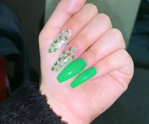 butterfly, green nails, and nail art image