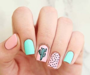 cactus, nails, and pink image