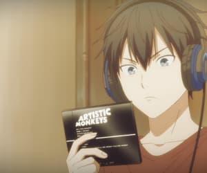 anime, headphones, and anime boy image