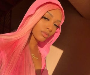 pink, wig, and golden hour image