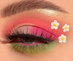 makeup, eye makeup, and flowers image