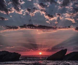 sunset, sky, and clouds image