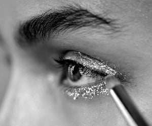 glitter, makeup, and black and white image
