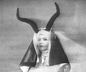 black and white, nun, and satan image