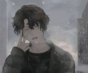 aesthetic, anime, and black and white image