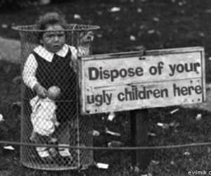 child, ugly, and black and white image
