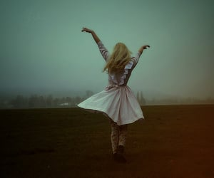girl, dress, and wind image