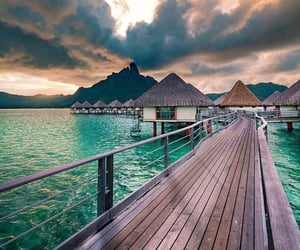 blue water, clouds, and vacation image