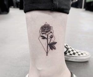 art, ink, and rose image
