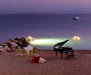 beach, romantic, and piano image