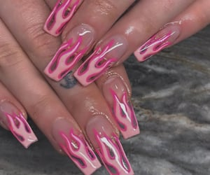 flames, nail polish, and nails image