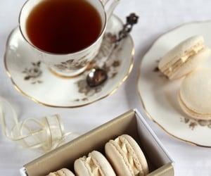 tea, food, and macaroons image