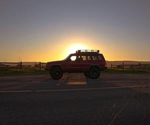 car, sun, and travel image