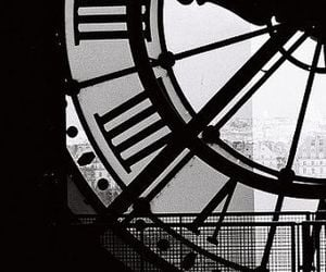 clock, black and white, and black image
