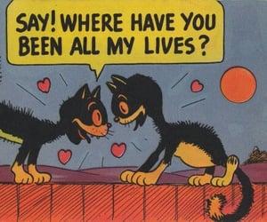 cat, love, and cartoon image