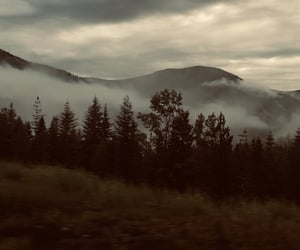 dark, fog, and mountains image