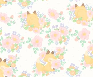 animal, background, and floral image