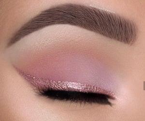 makeup, pink, and eyebrows image