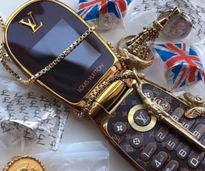 phone, gold, and Louis Vuitton image