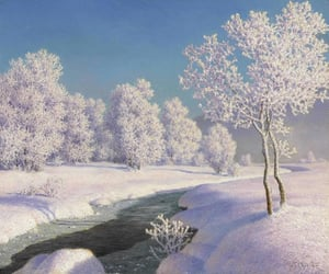 art, winter, and paintings image