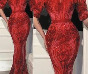 evening dress, red evening dress, and evening gown image