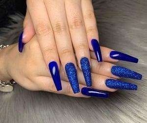 nails, royal blue, and coffin nails image