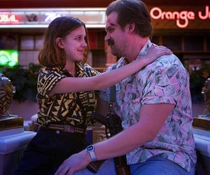 hopper, eleven, and stranger things image