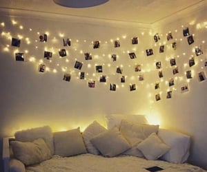 lights, bed, and bedroom image