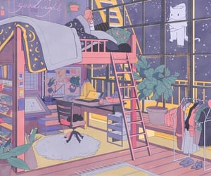 bedroom, illustration, and cute image