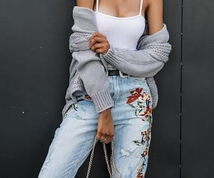 mom jeans and cardigan image