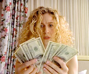 Carrie Bradshaw, coins, and money image