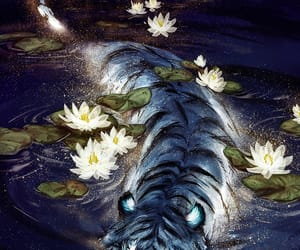 tiger, art, and flowers image